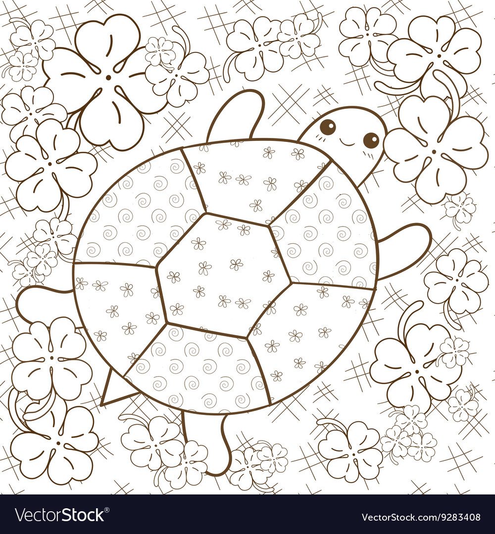 Turtle Heaven adult coloring book page Cute