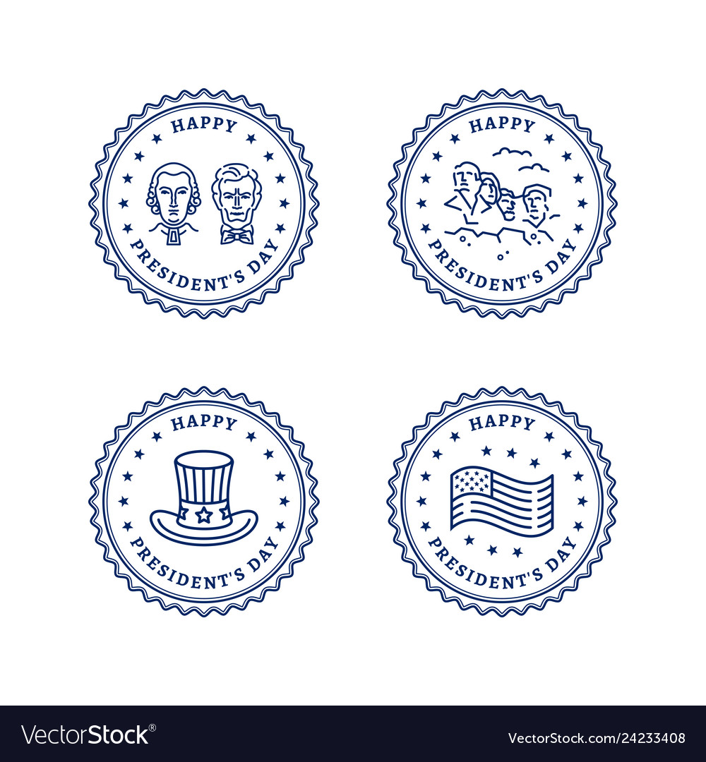 Usa icons set presidents day round stamps