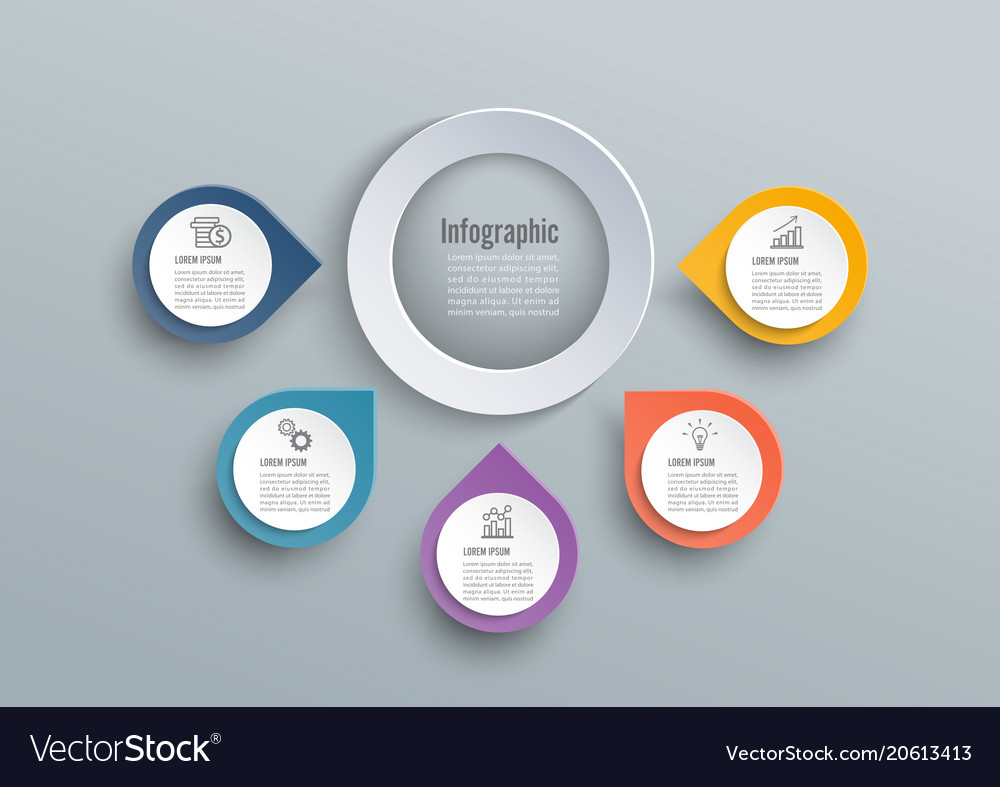 Abstract 3d paper infographic elements circular