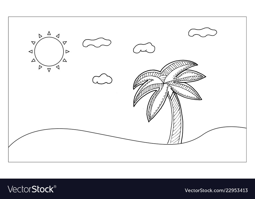 Beach line art for painting and imagine nutural