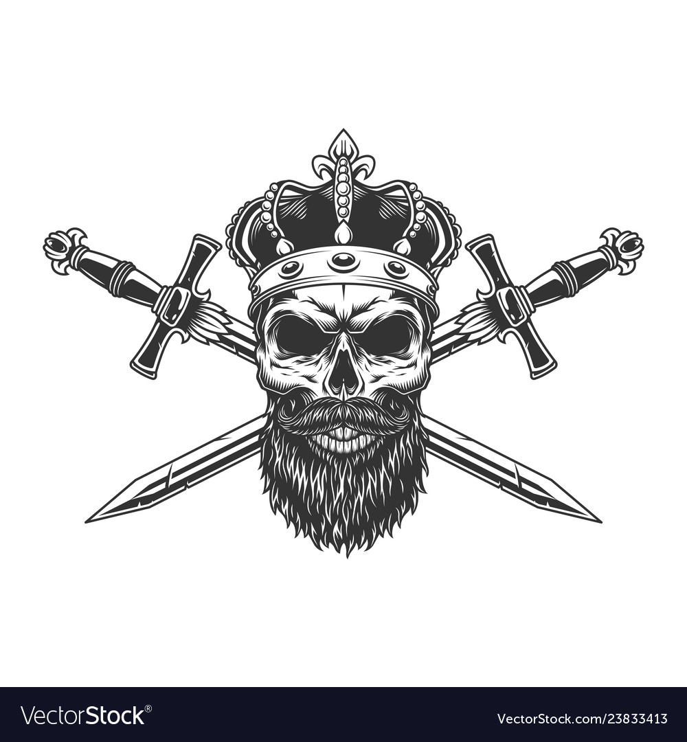 Bearded and mustached skull in crown