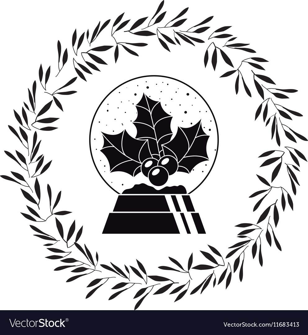 Berry with leaves of Christmas season design vector image
