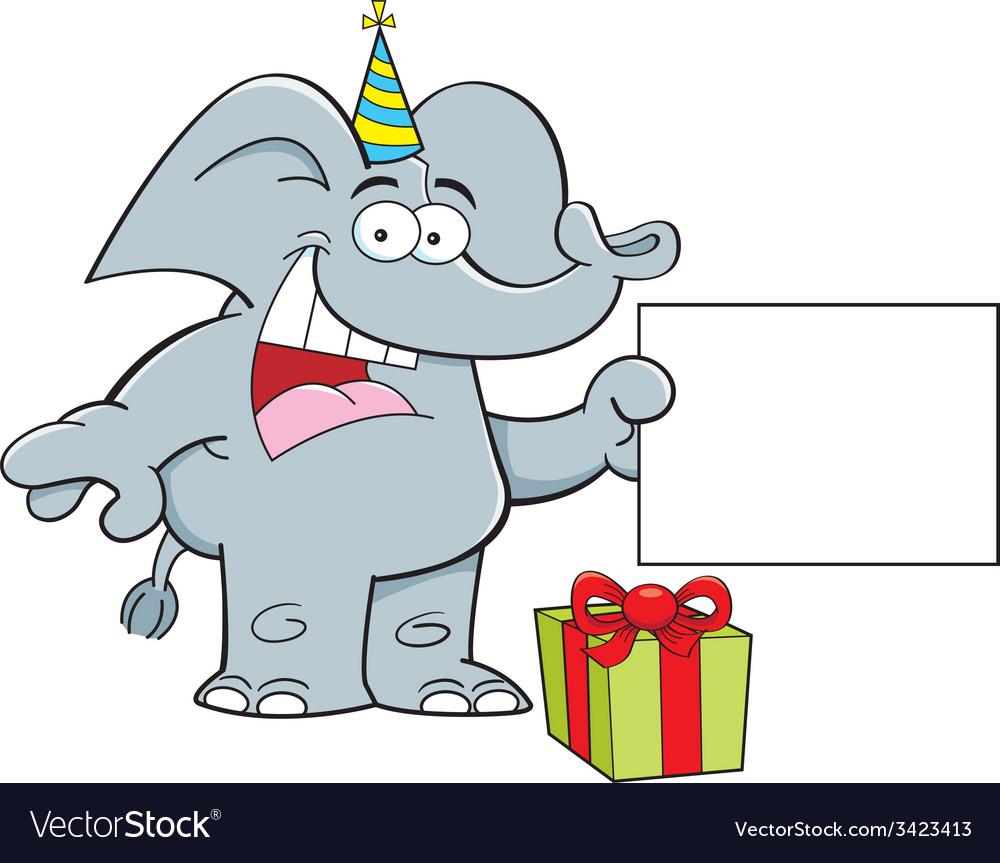 Cartoon elephant holding a sign