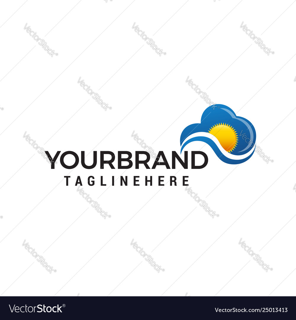 Cloudy sun logo design concept template