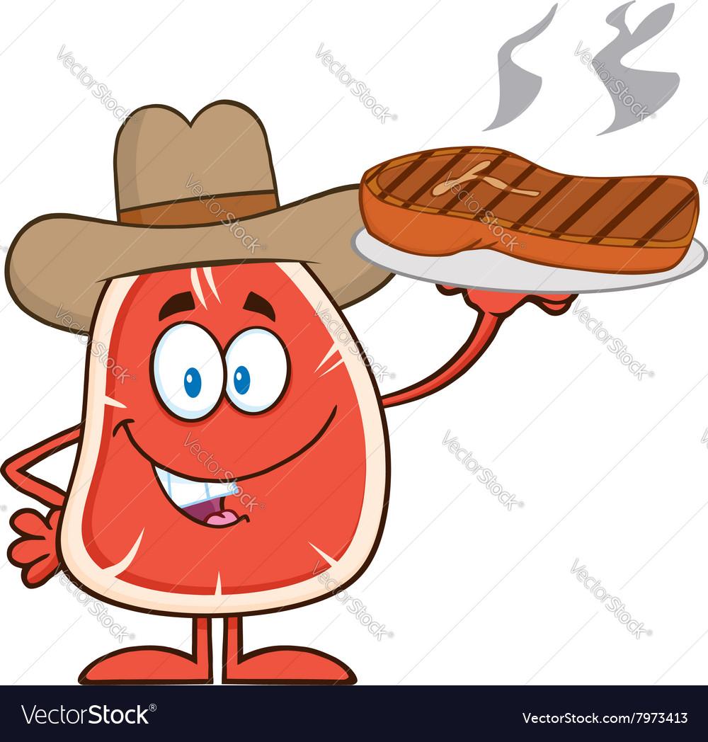 Cowboy Steak Cartoon Vector Image
