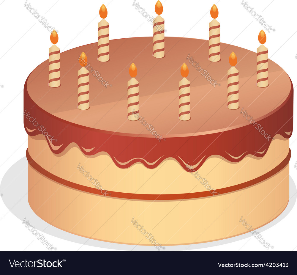 Cute Cartoon Birthday Cake Royalty Free Vector Image