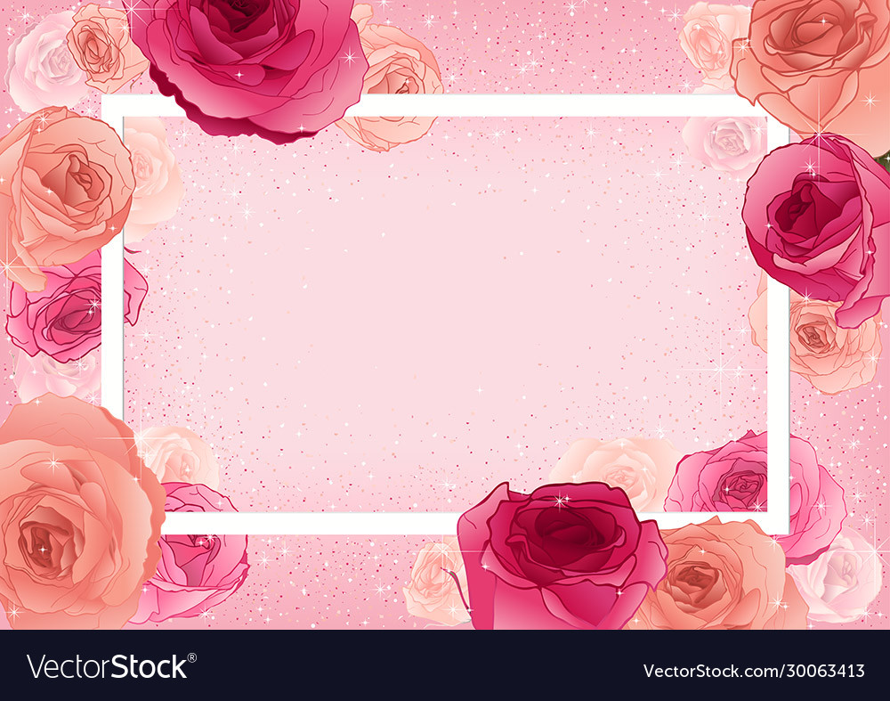 Greeting card with roses on pastel pink background