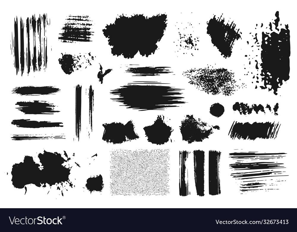 Hand drawn set abstract grunge ink brush stroke