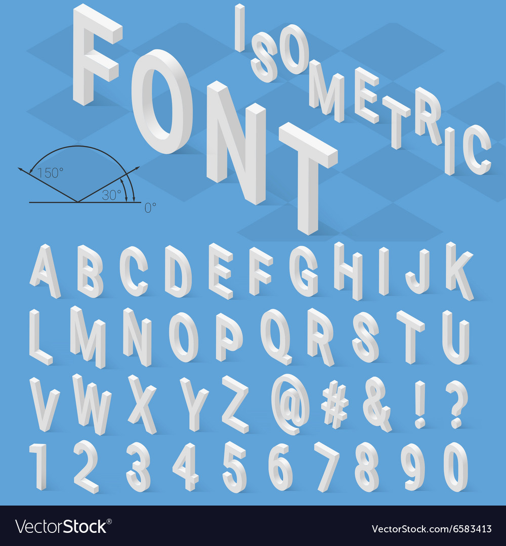Isometric font alphabet with drop shadow on blue