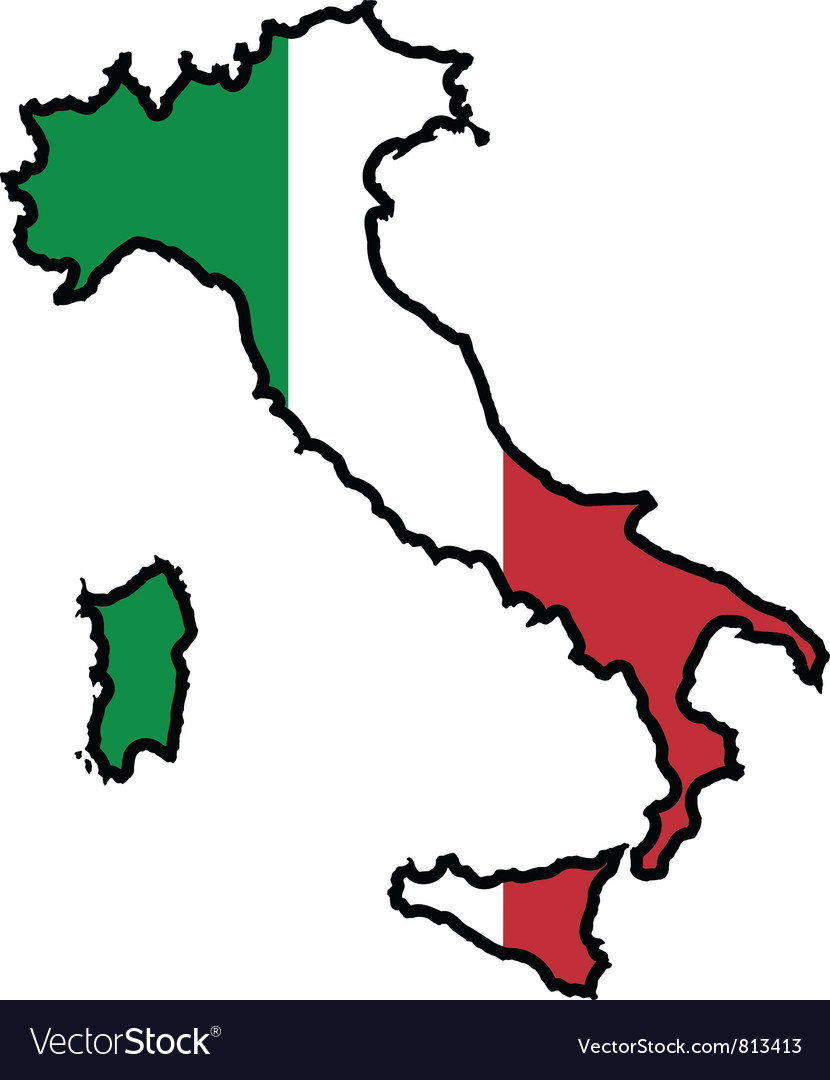 Map in colors of Italy