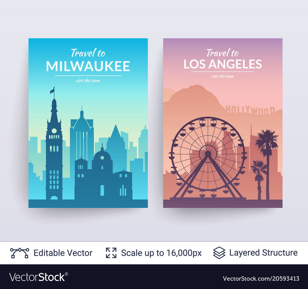 Milwaukee and los angeles famous city scapes