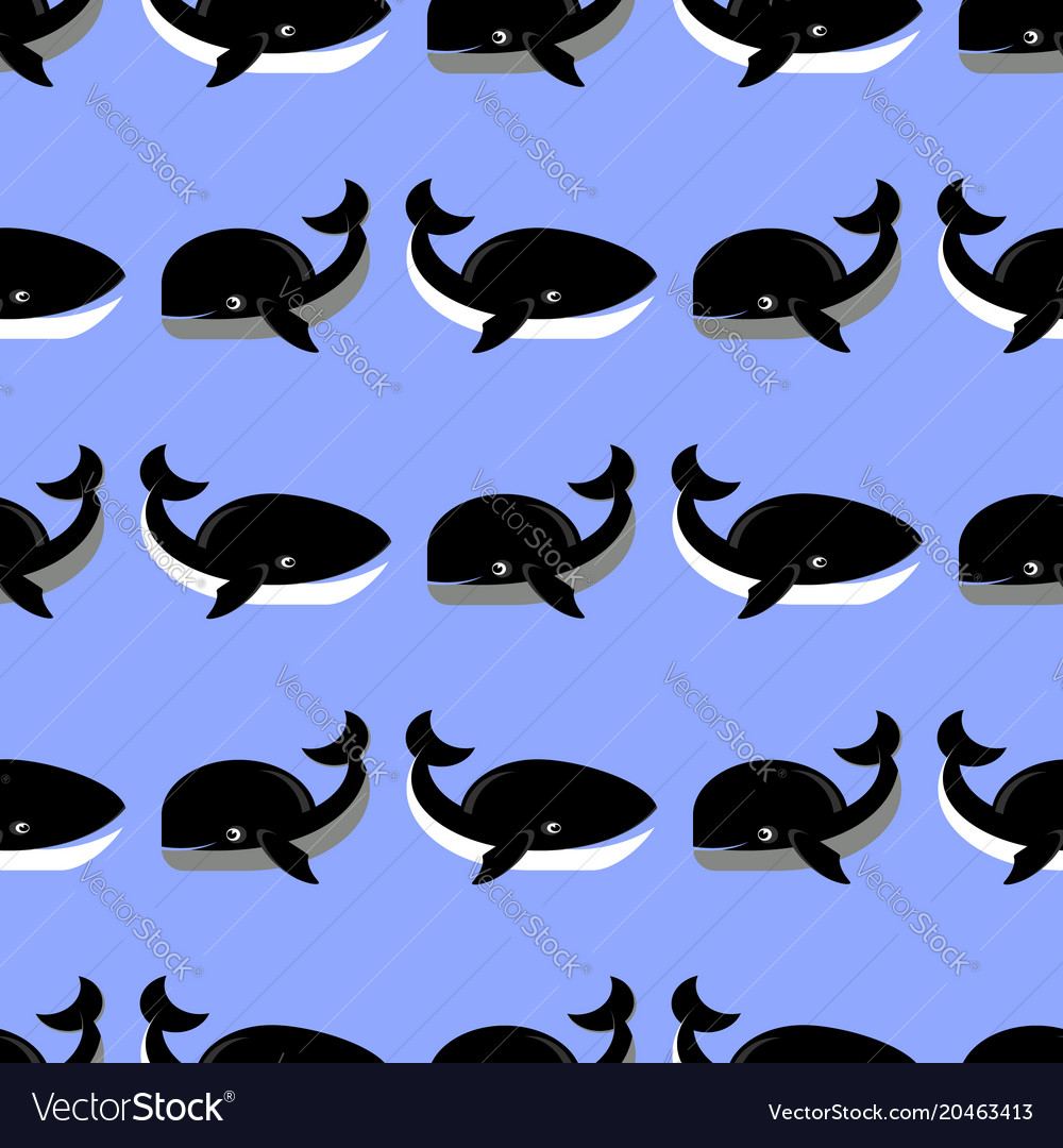 Sea fish pattern on blue background whale