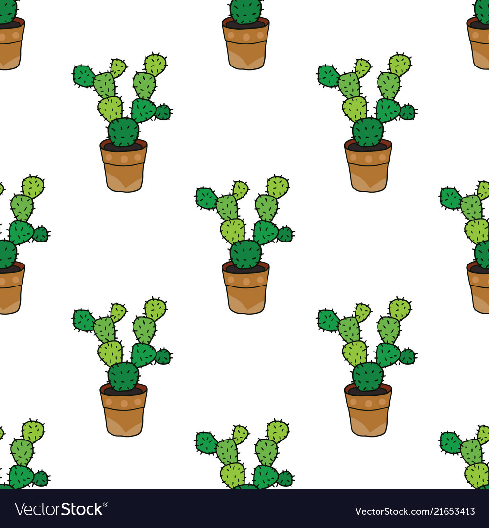 Seamless pattern with cactus seamless