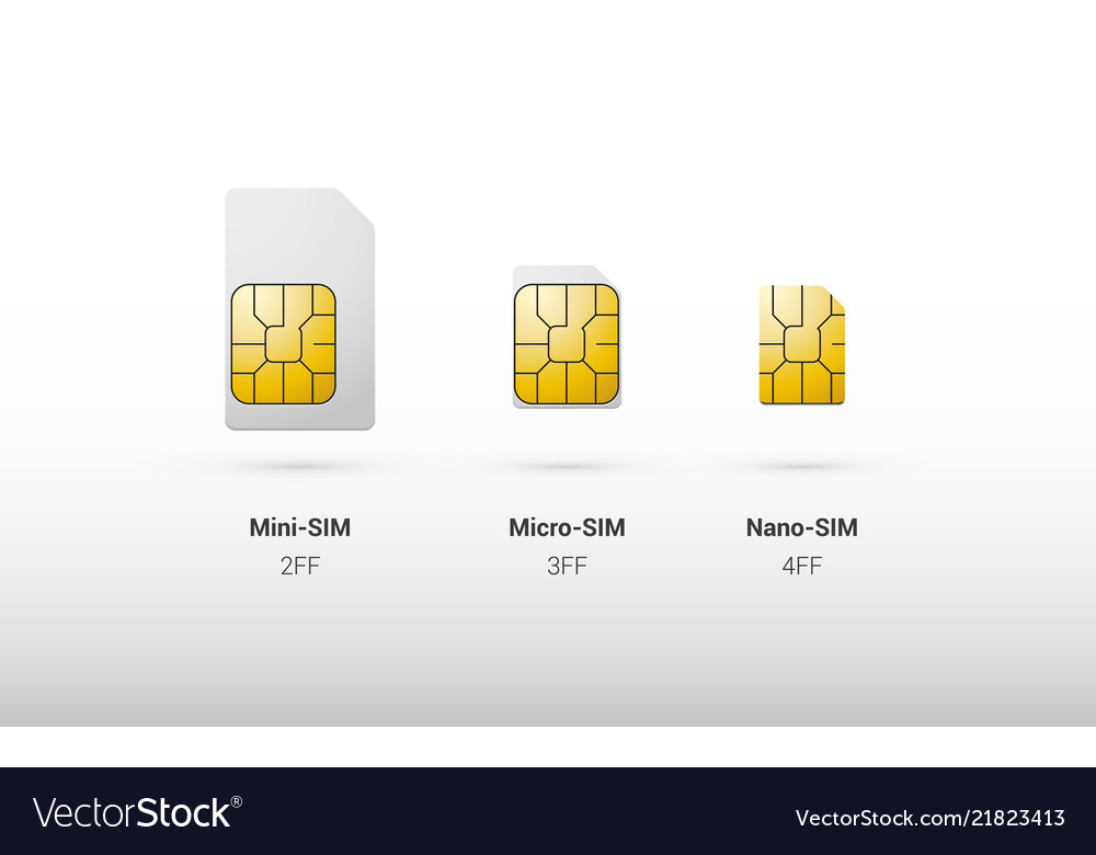 Sim Card Overview Comparison Types And Sizes Vector Image