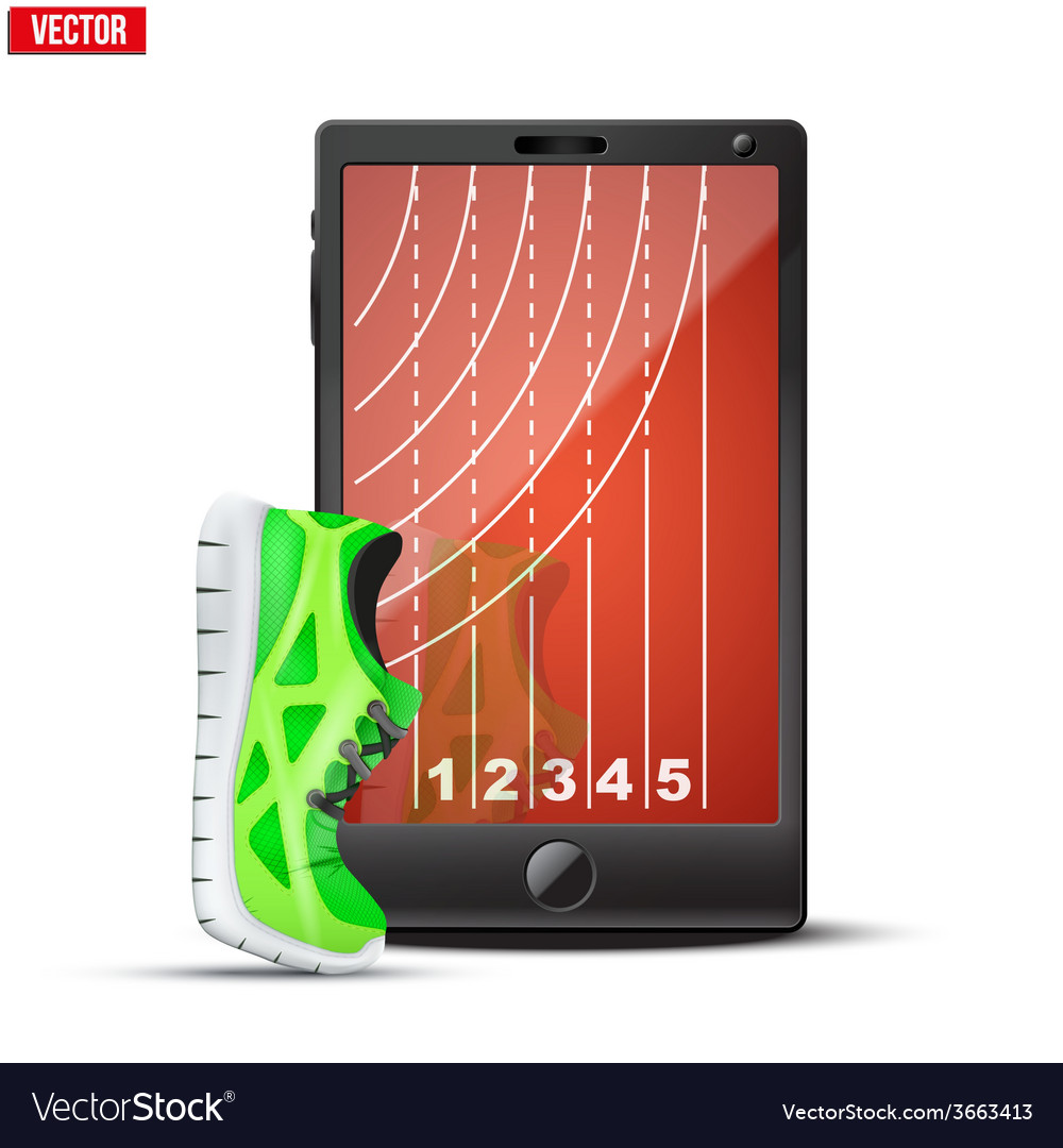 Smartphone with run shoes and running track on the vector image