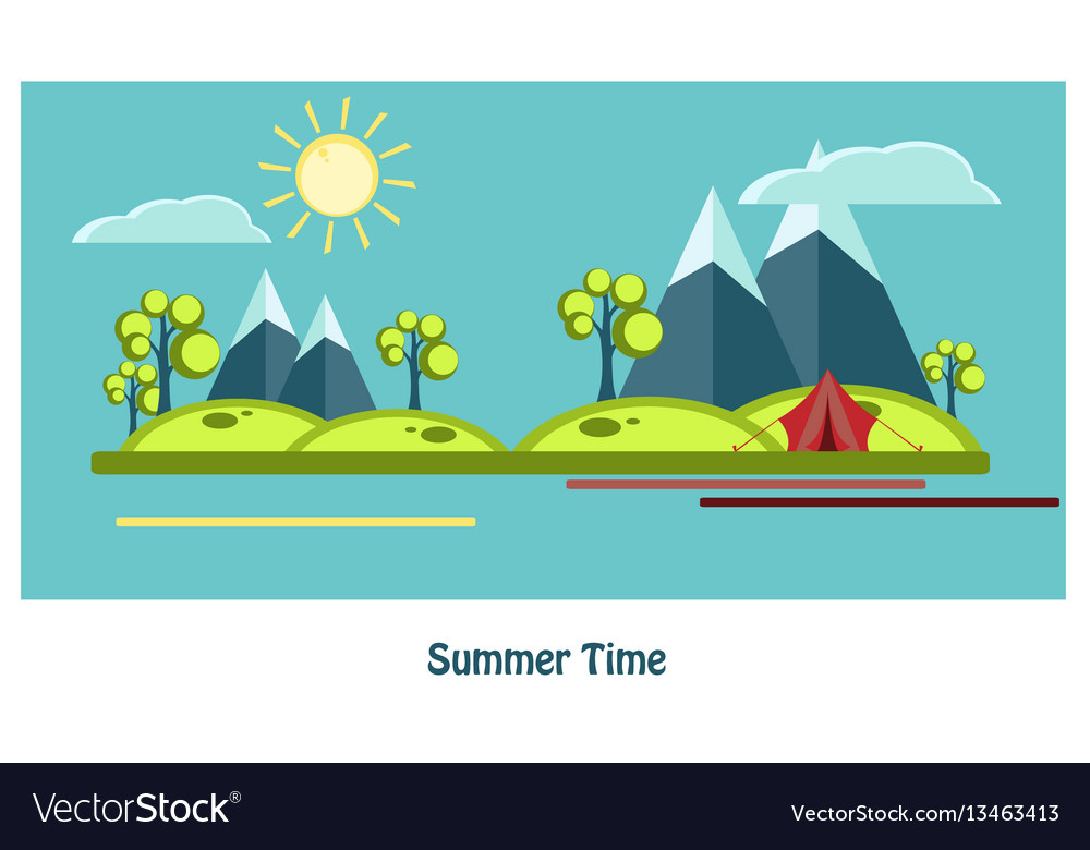 Summer flat design vector image