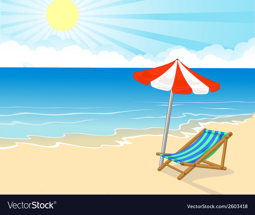 Cartoon Beach Chair And Umbrella On Tropical Vector Image