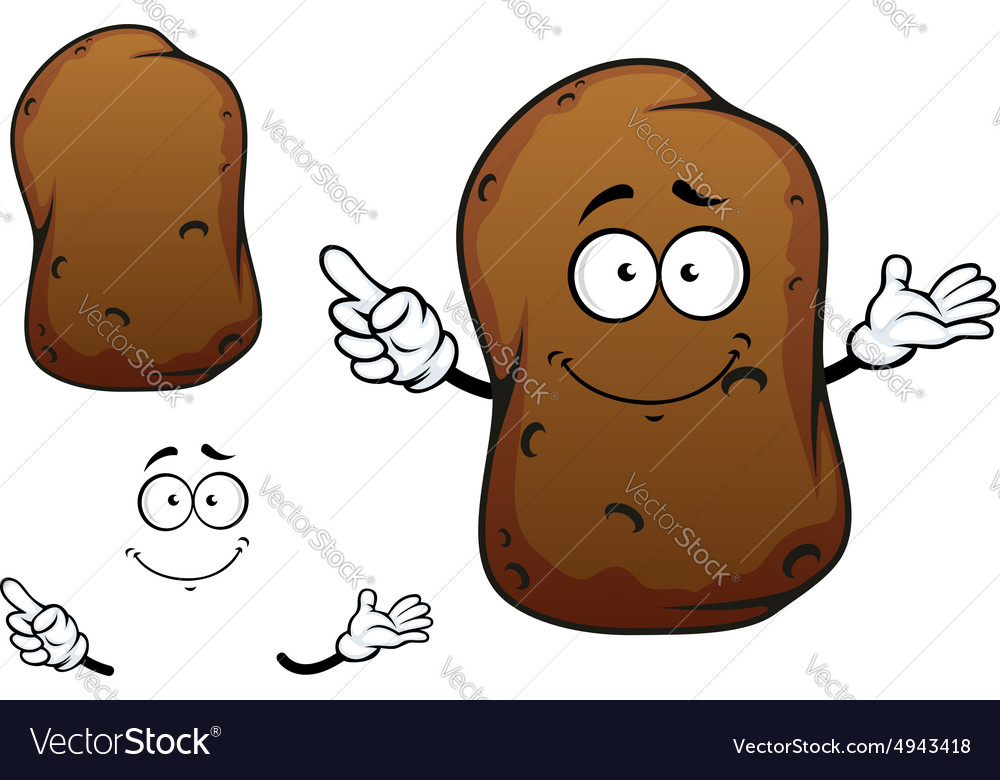 Cartoon brown potato vegetable character