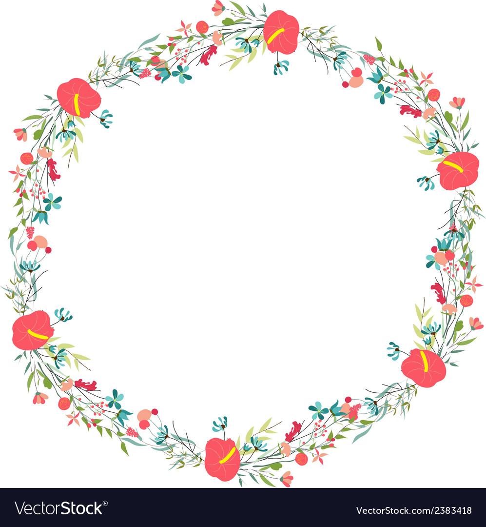 Cute retro flowers arranged un a shape of the vector image