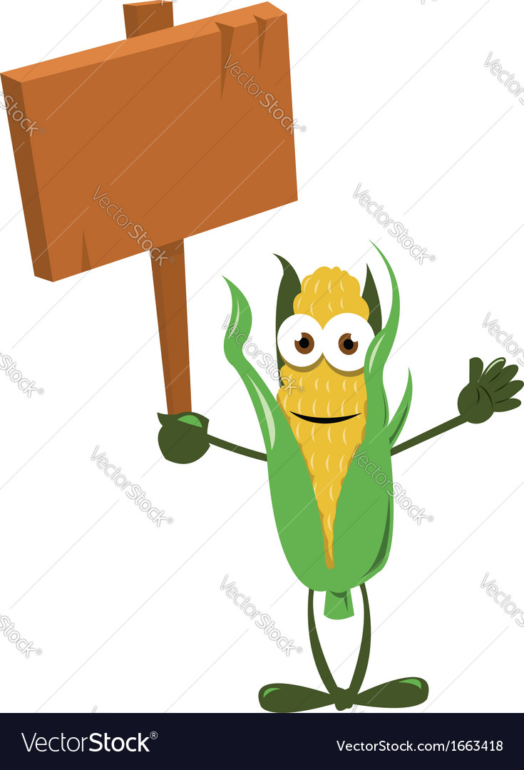 Funny Corn with Wooden Sign