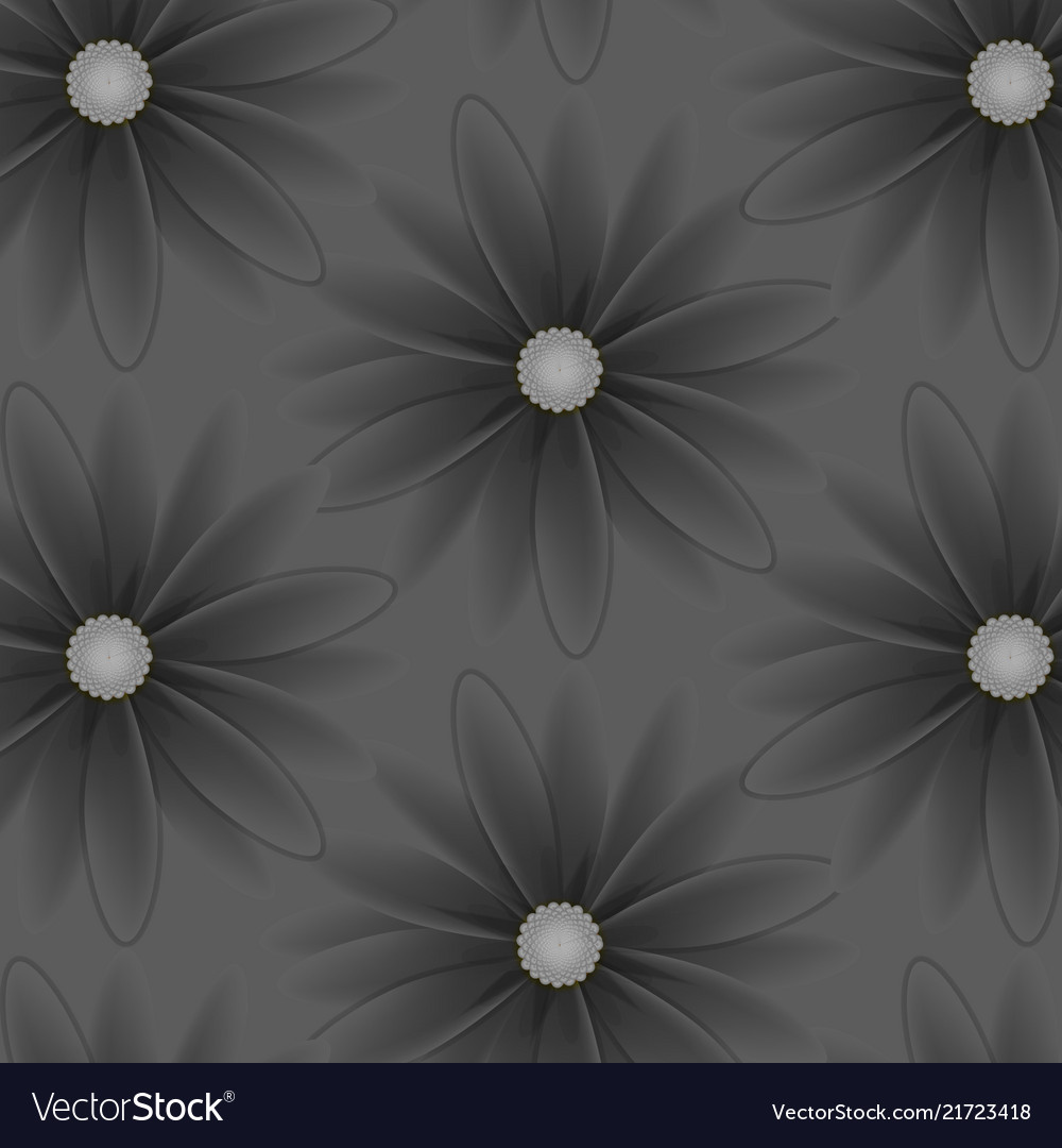 Pattern with flowers with gray petals