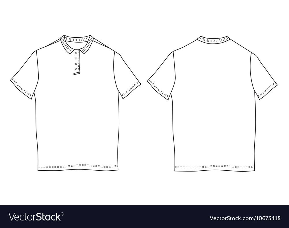 Polo shirt template Front and back views