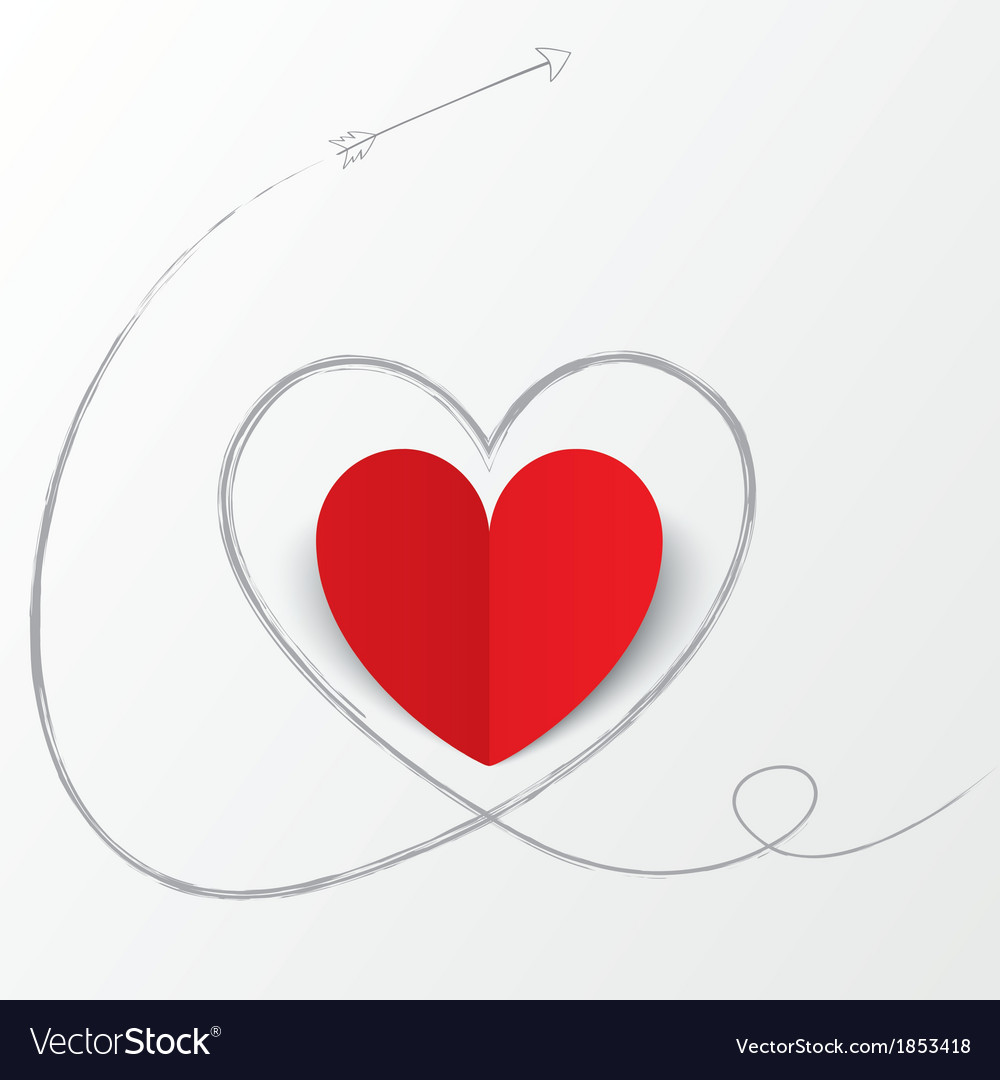 Red Paper Heart With Arrow Path Valentines Day Vector Image