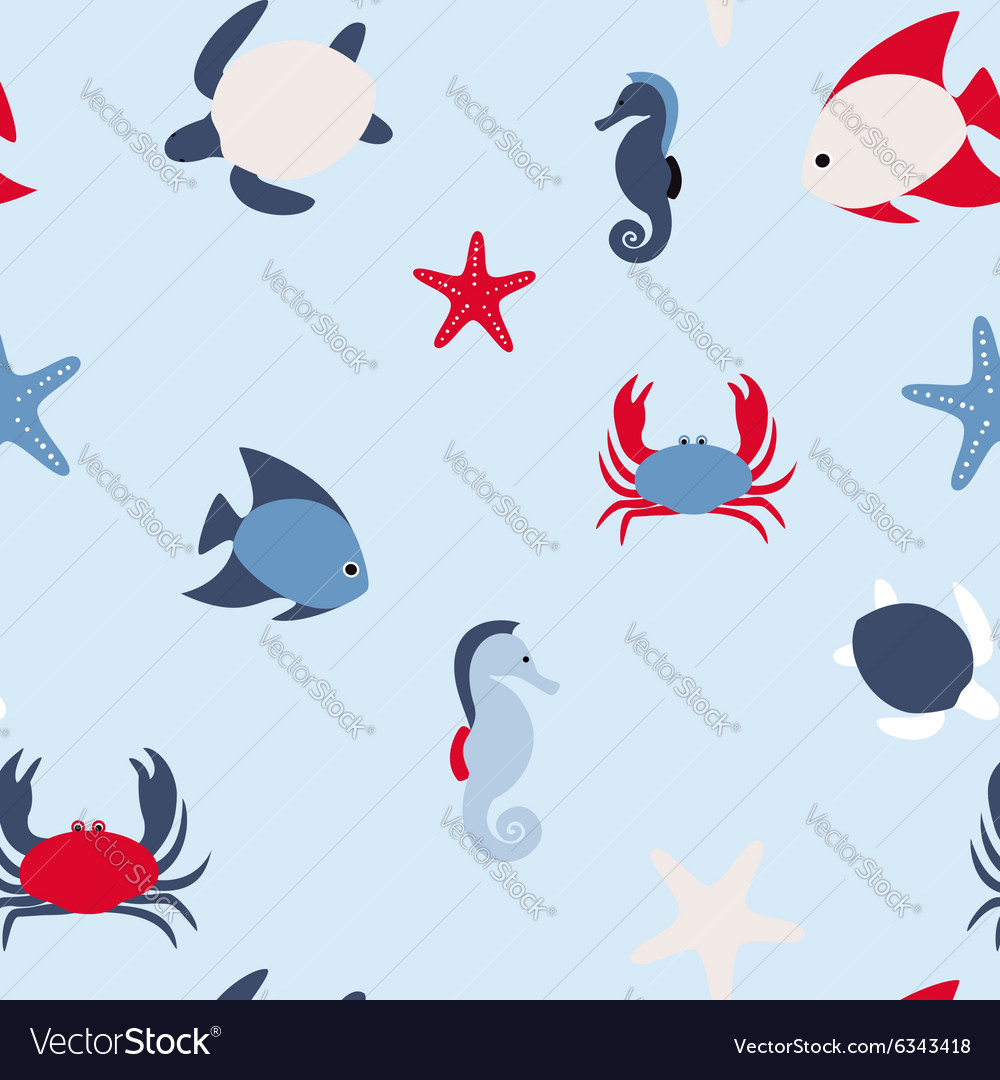 Seamless pattern in marine style