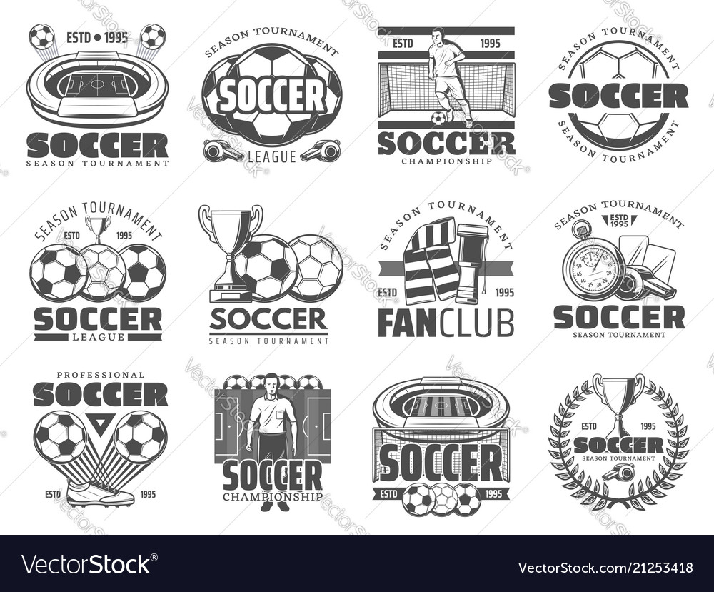 Soccer and football sport icons vector image