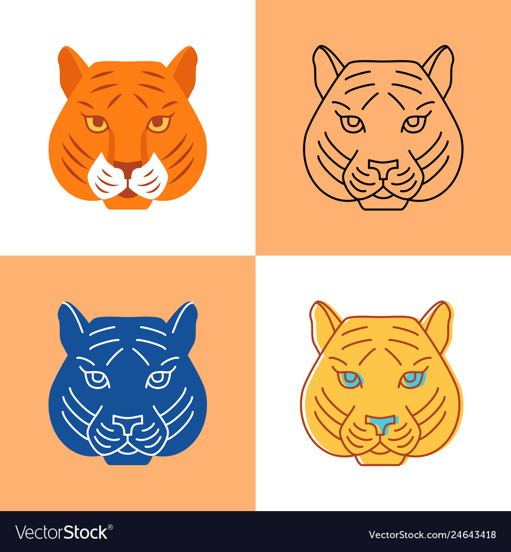 Tiger head icon set in flat and line styles