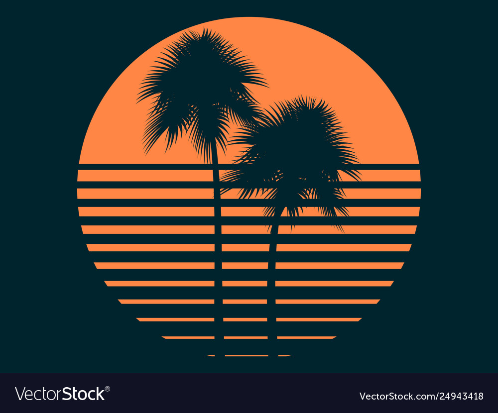 Tropical palm trees in sun summer sunset
