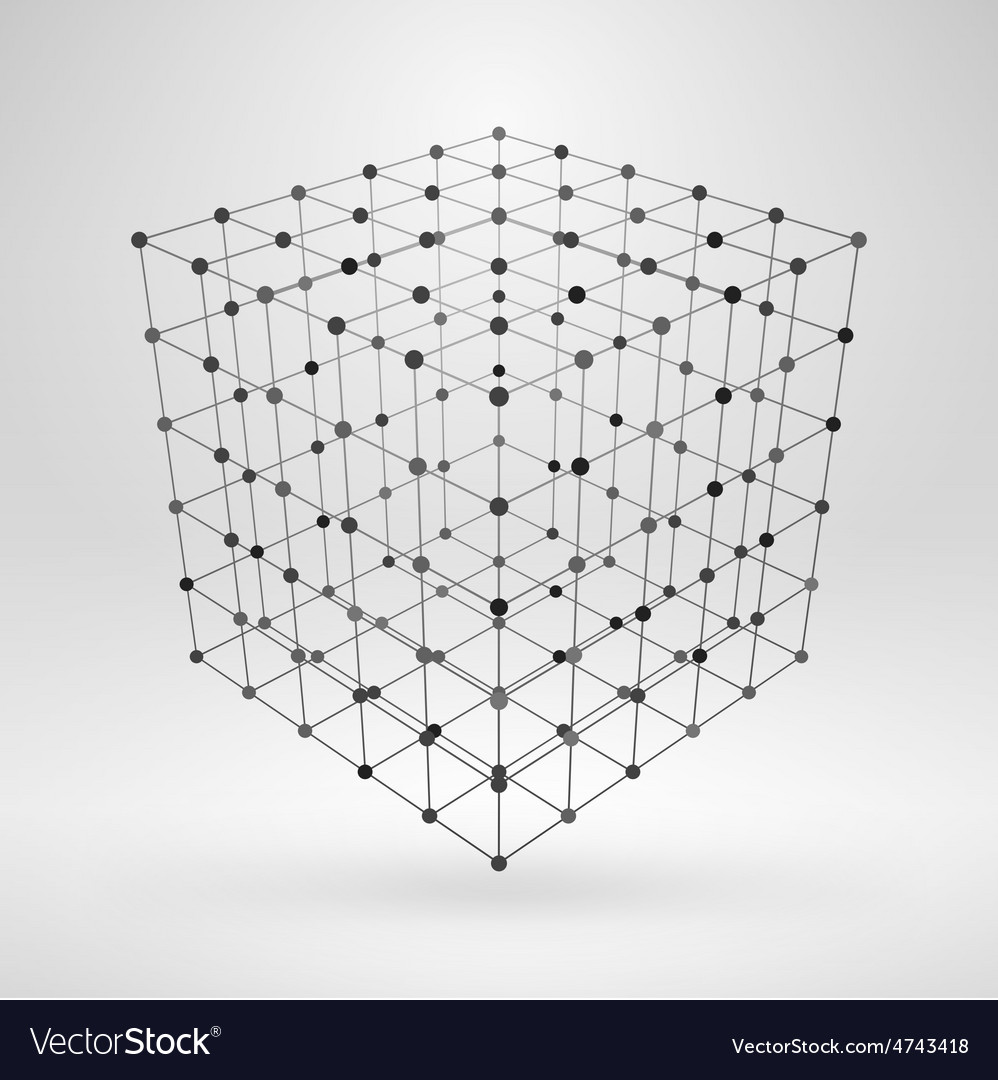 Wireframe polygonal element 3D cube with lines and