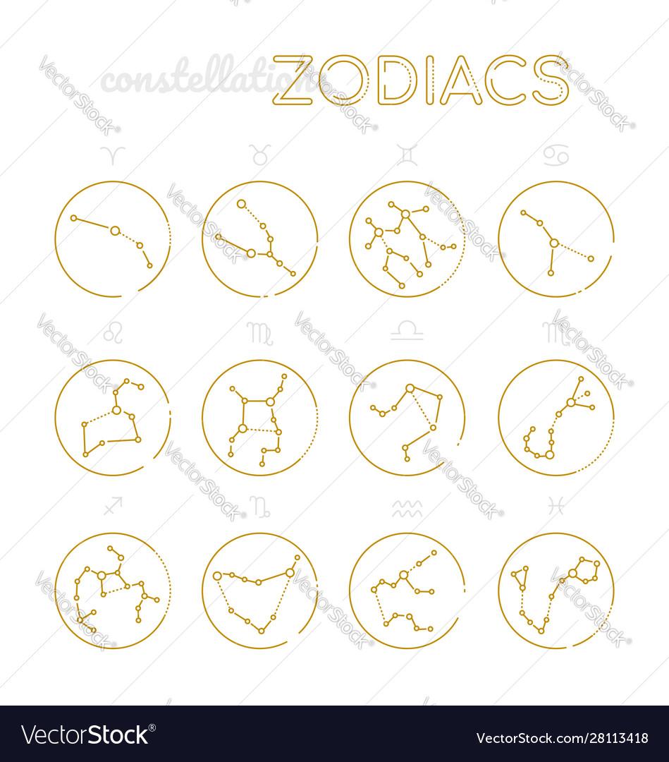 Zodiac constellations - set twelve astrological
