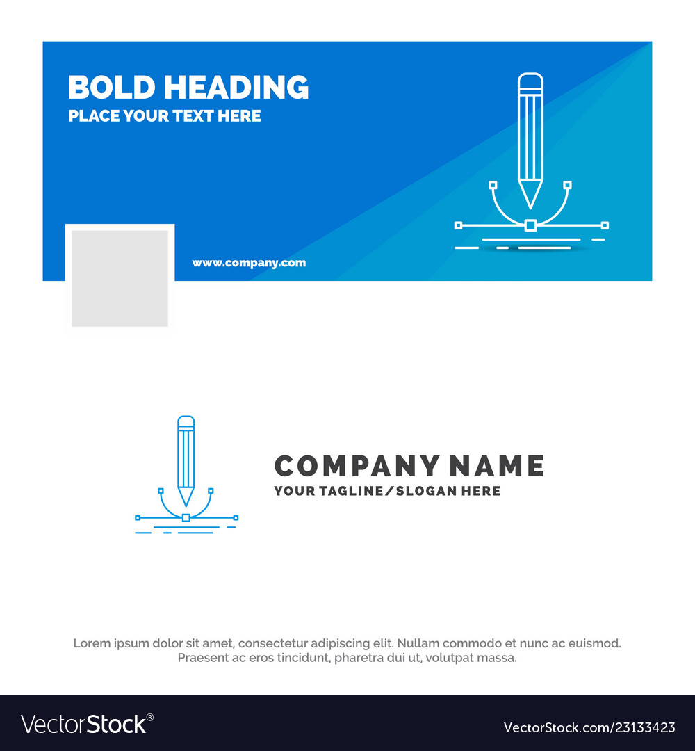 Blue business logo template for design pen