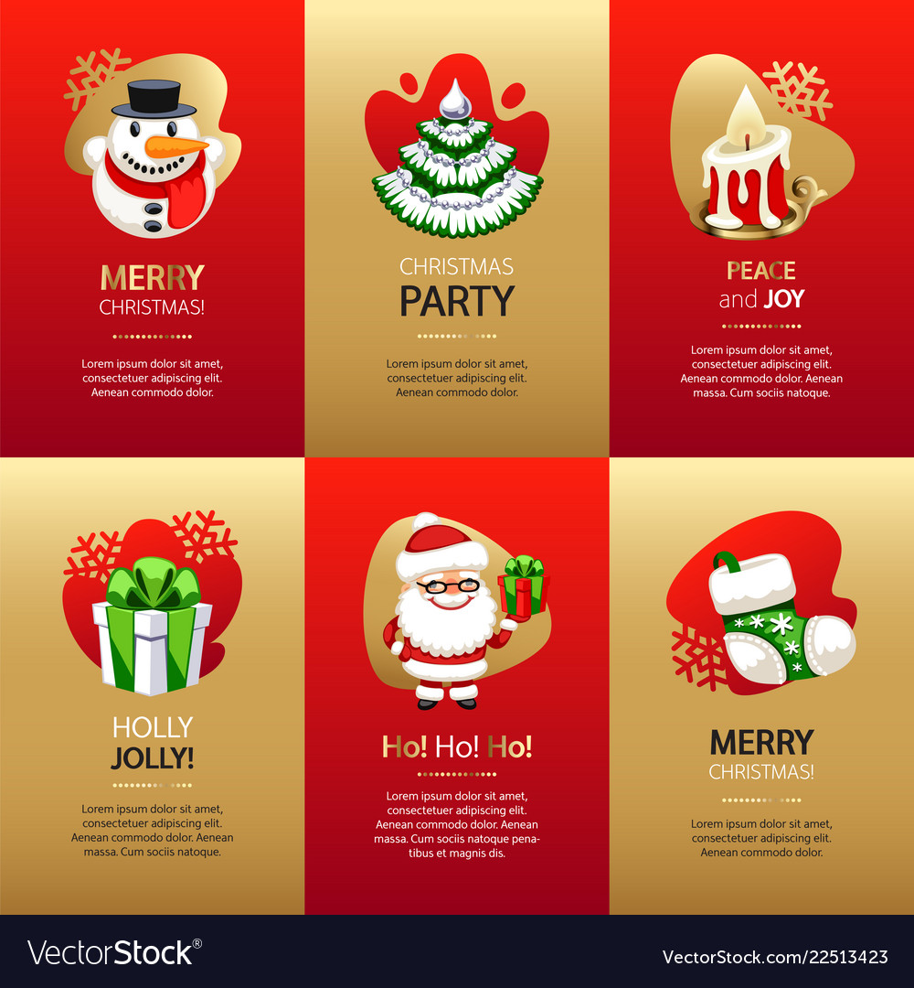 Christmas greeting cards set with gold and red