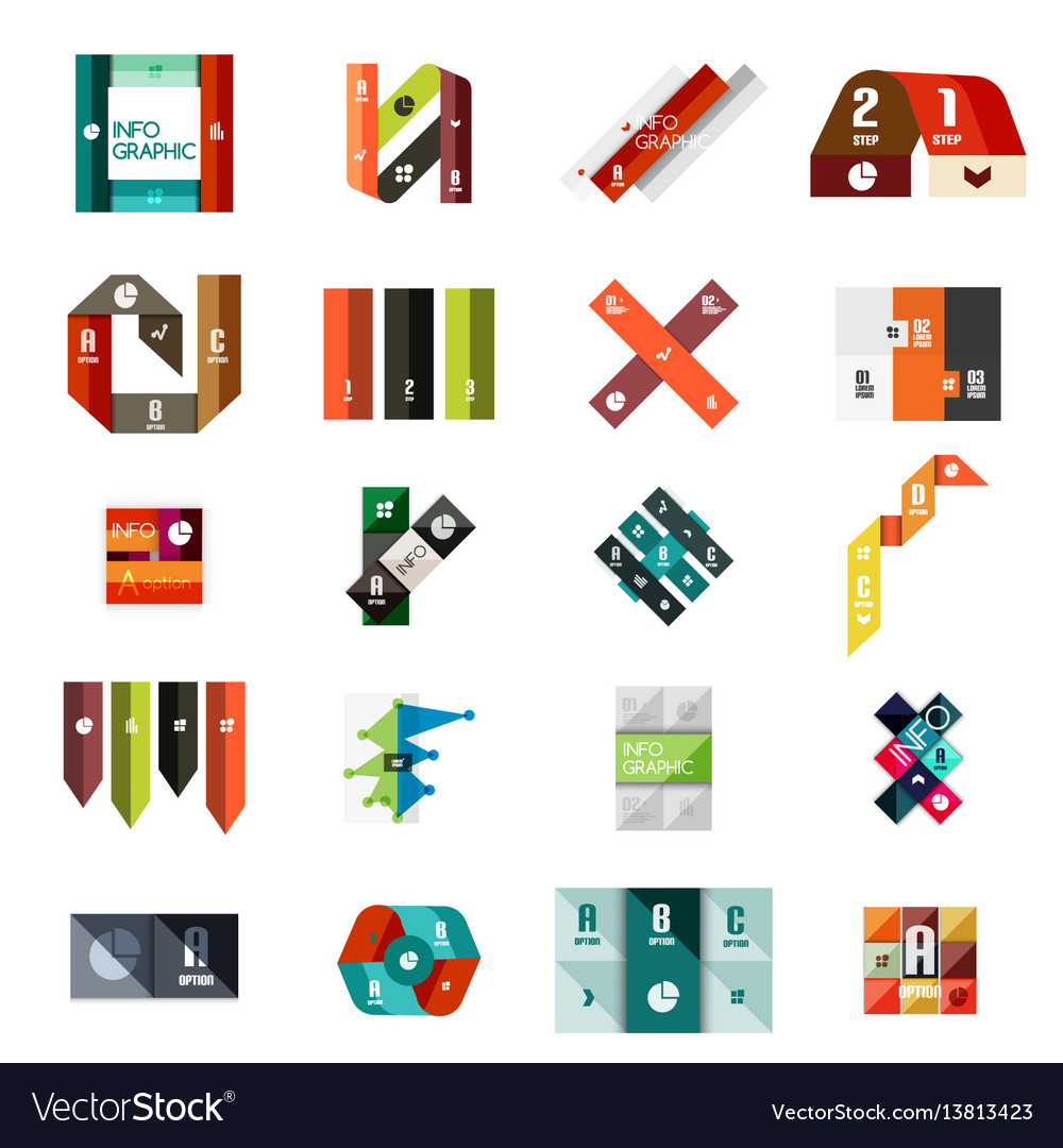 Collection of colorful line and stripe infographic