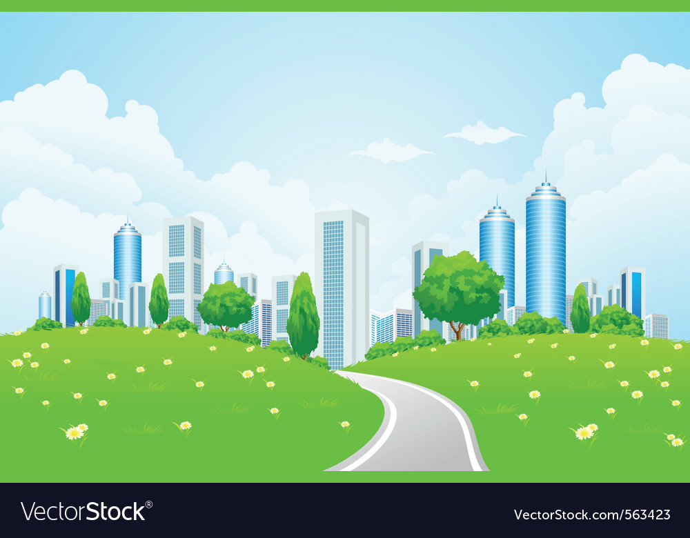 Eco modern city vector image
