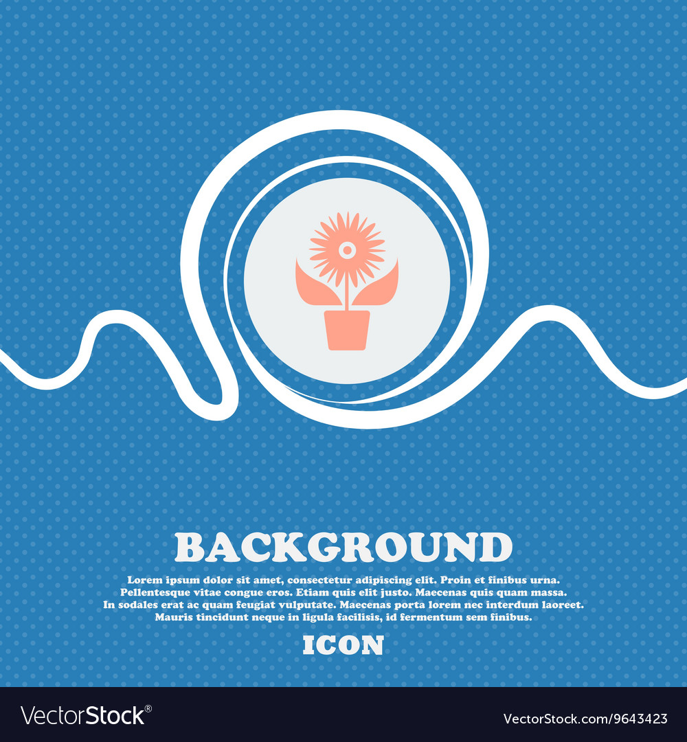 Flowers in pot icon sign blue and white abstract vector image izmirmasajfo
