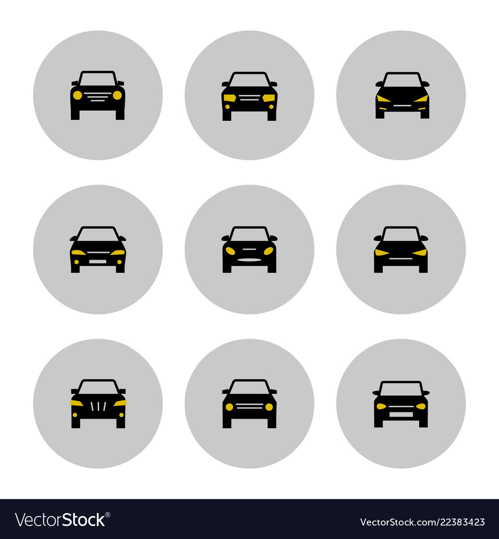 Front view cars icon with yellow lights
