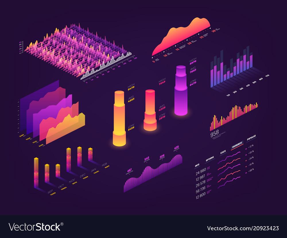 Futuristic 3d isometric data graphic business