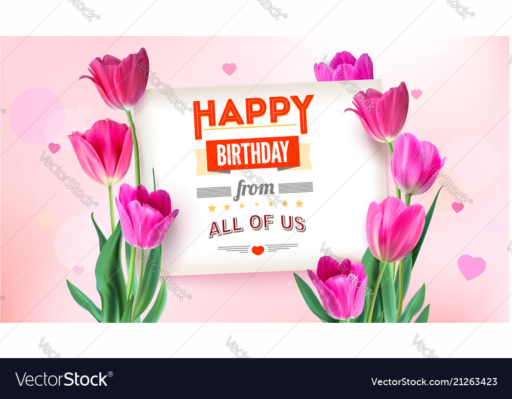 Happy birthday floral poster with lettering design