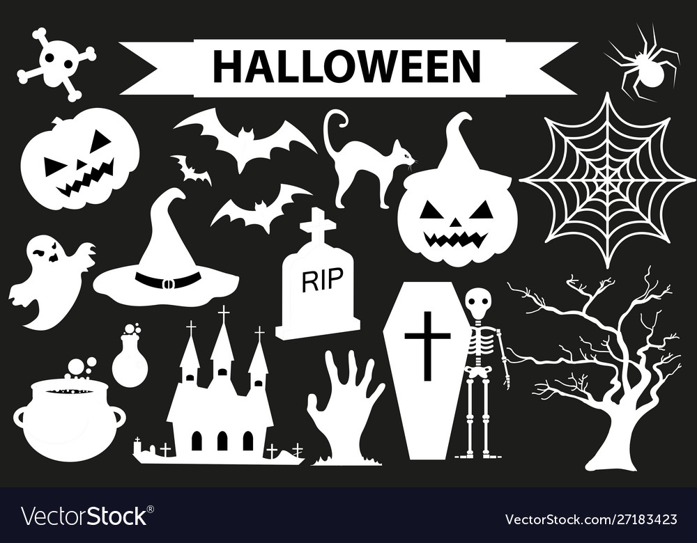 Happy halloween icons set black silhouette style
