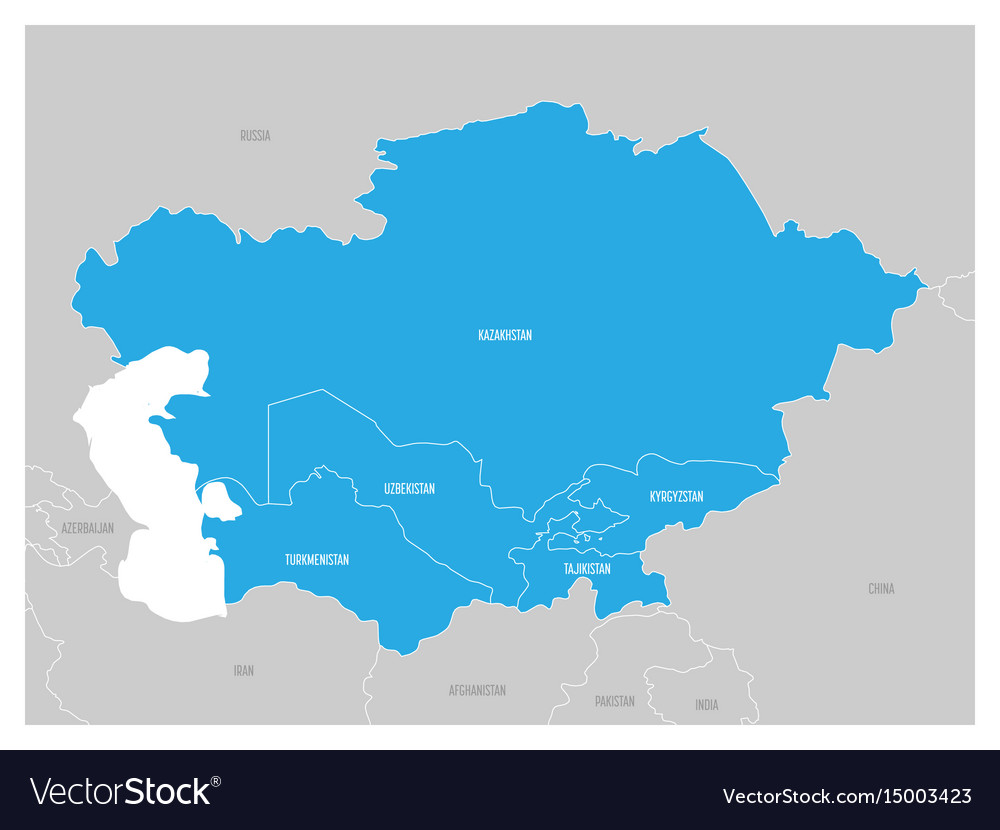 Map of central asia region with blue highlighted vector image gumiabroncs