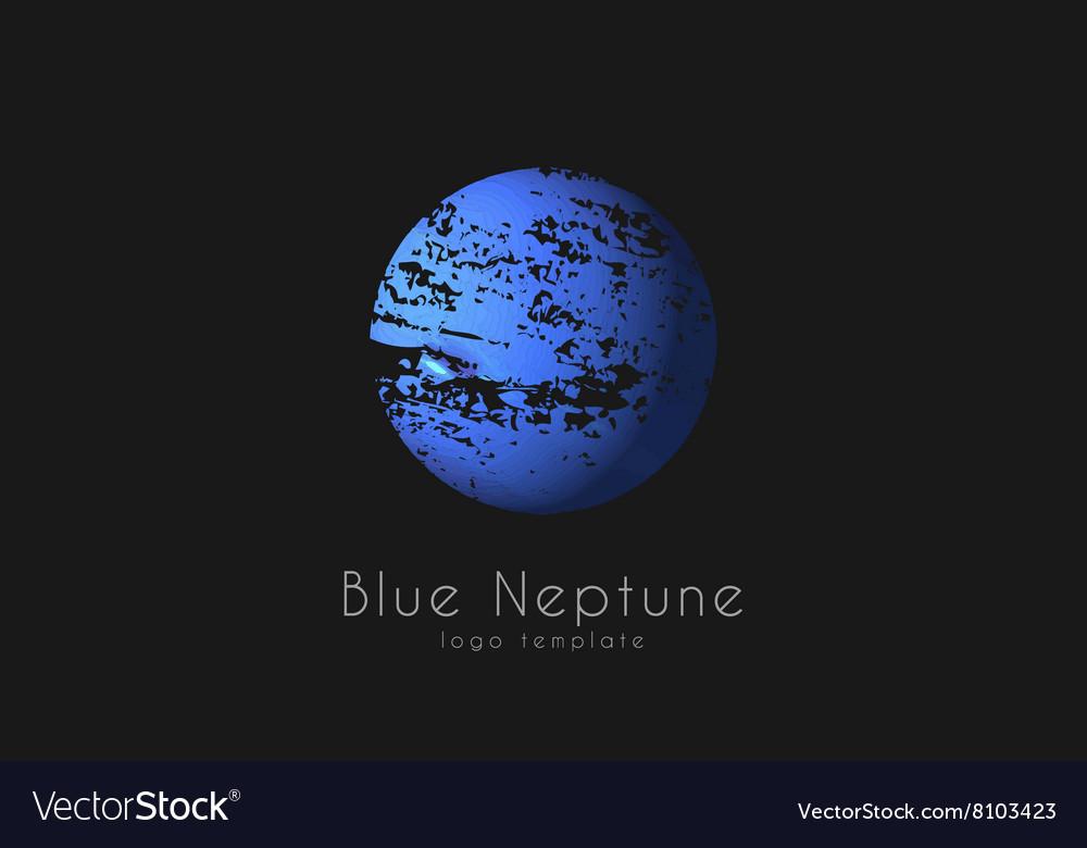 Neptune logo Planet logo Comic logo Space logo vector image