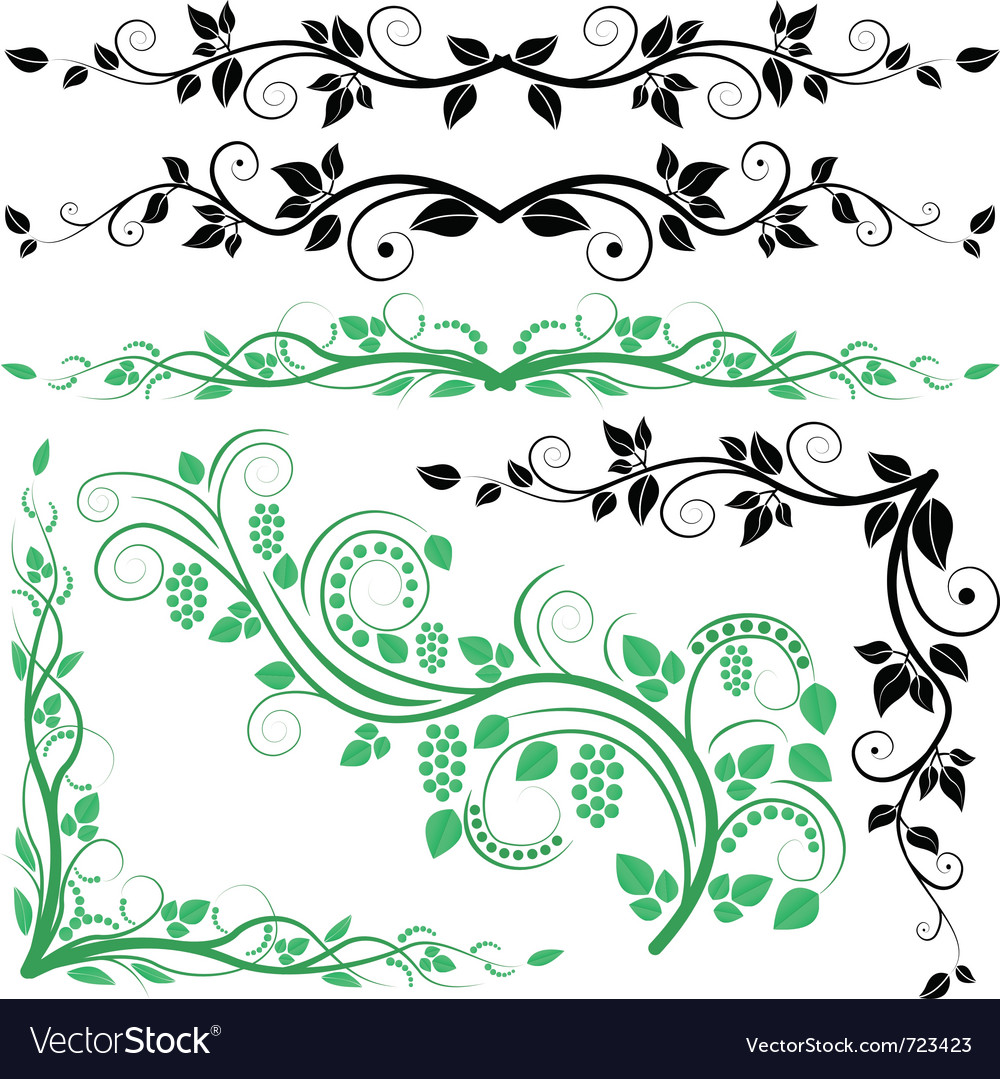 Plant decoration and corners vector image