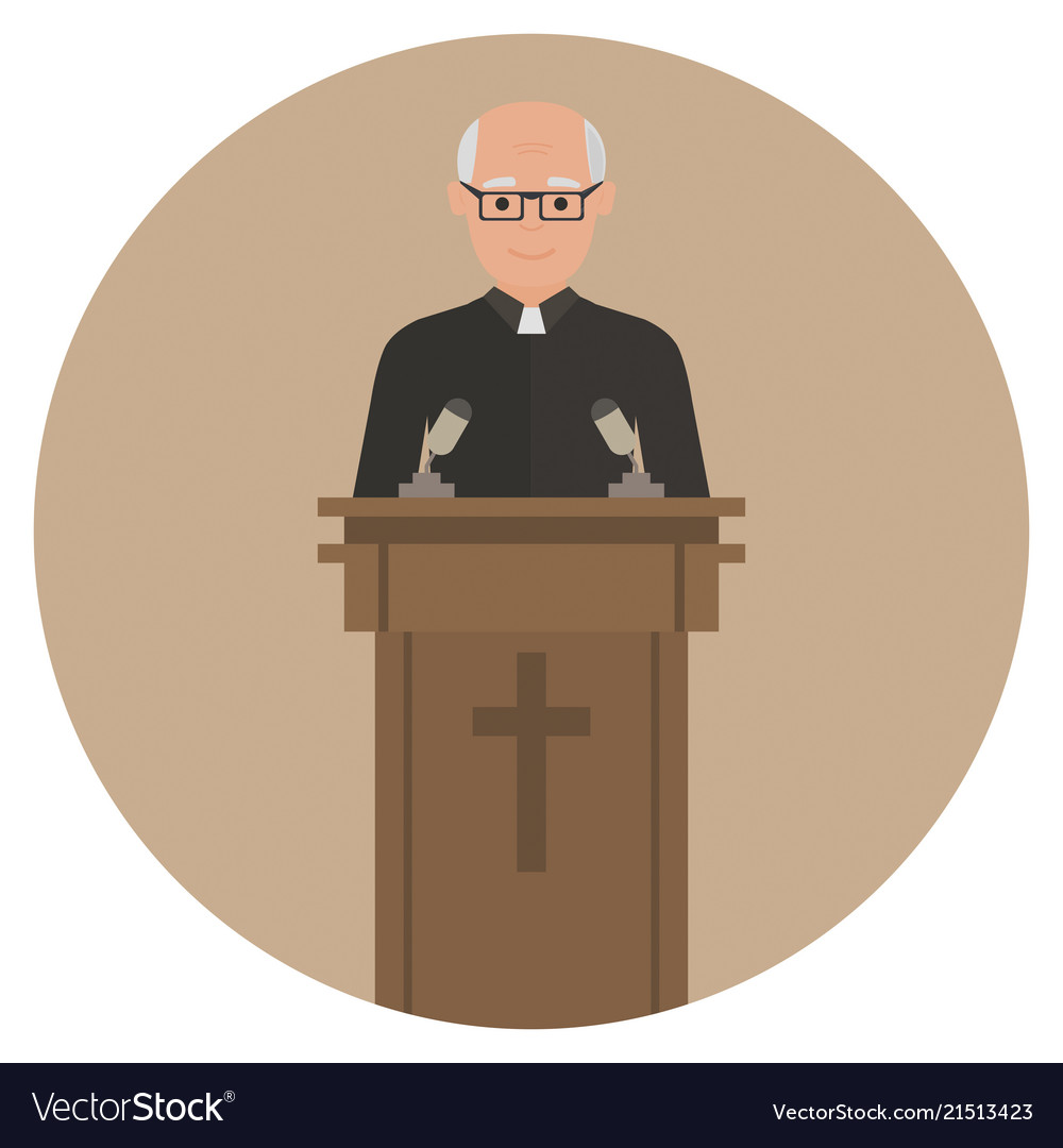 Priest giving speech from tribune