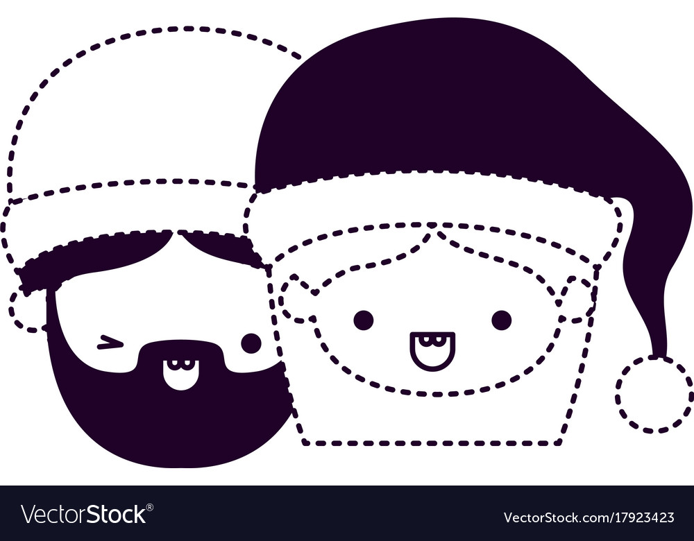 santa claus couple cartoon faces man wink eye and vector image rh vectorstock com Man Winking Clip Art Animated Winking Eyes Clip Art