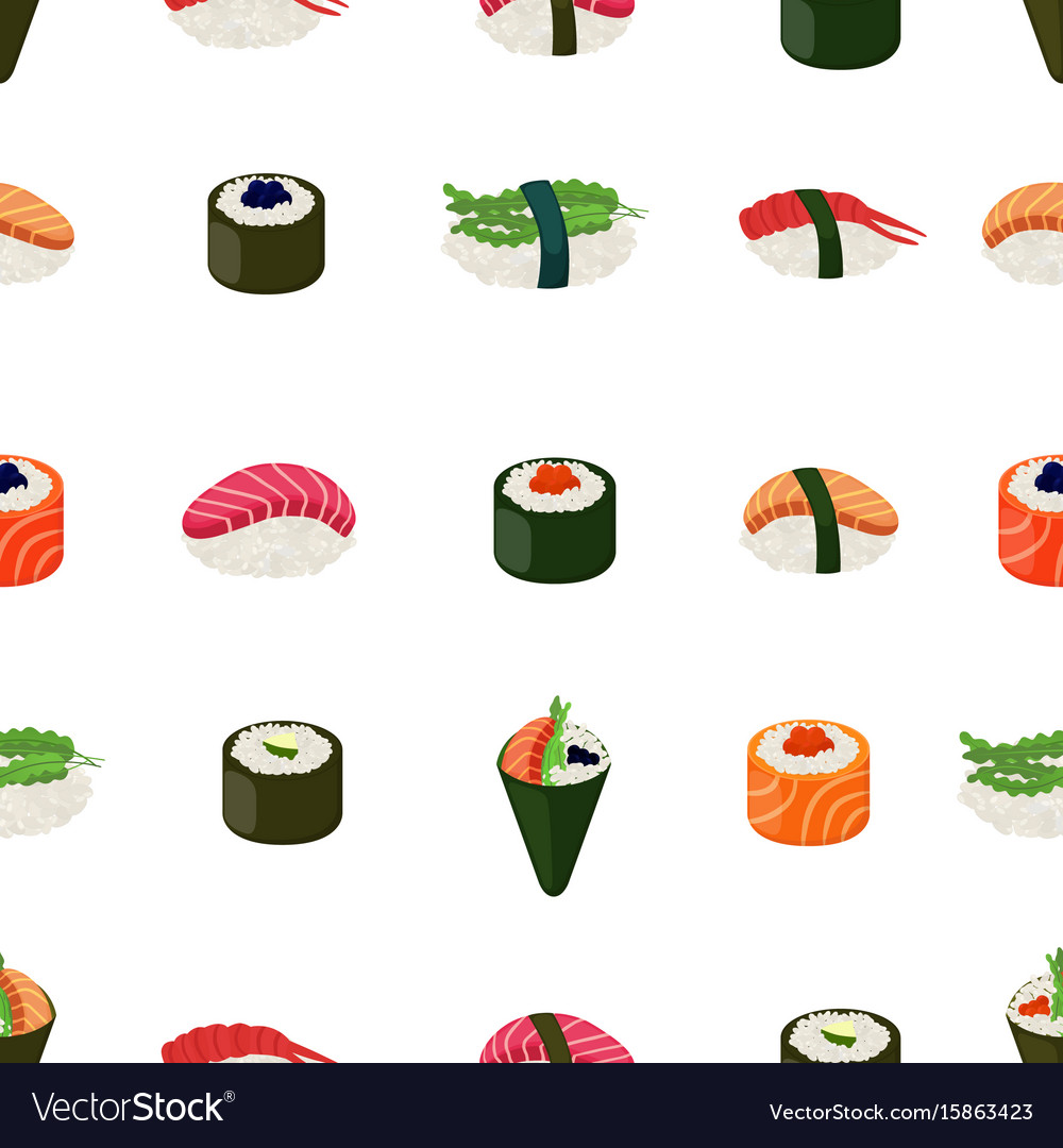 Sushi seamless pattern - asian food vector image
