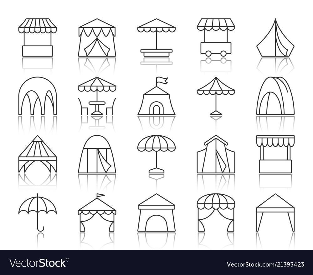 Tent simple black line icons set