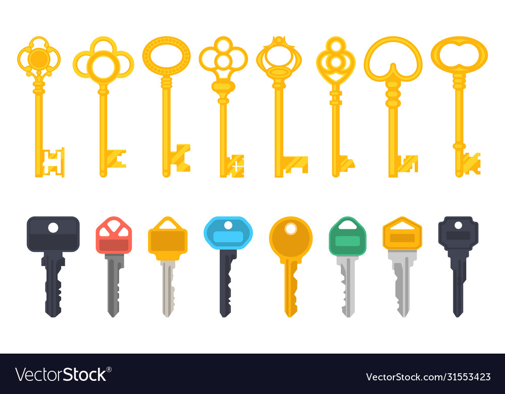 Vintage antique and modern keys flat simple icons